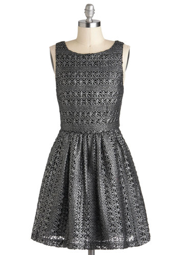 Plenty by Tracy Reese Moon Silver Dress by Plenty by Tracy Reese - A-line, Sleeveless, Cotton, Mid-length, Silver, Solid, Crochet, Exposed zipper, Party, Holiday Party, Luxe