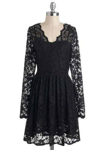 Shade for You Dress - Sheer, Mid-length, Black, Solid, Lace, Party, Film Noir, A-line, Long Sleeve, V Neck, Cocktail