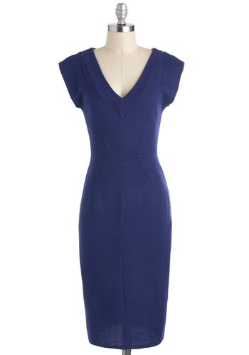 Poised for a Promotion Dress - Shift, Cap Sleeves, Long, Blue, Solid, Exposed zipper, Work, V Neck, Tis the Season Sale