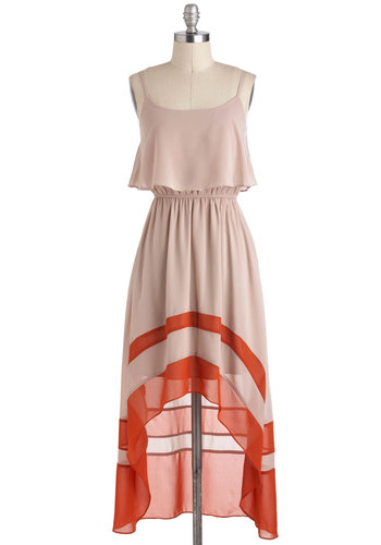 Take a Sand Dress - Sheer, Mid-length, Tan, Orange, High-Low Hem, Spaghetti Straps, Boho, Tis the Season Sale, Casual, Maxi