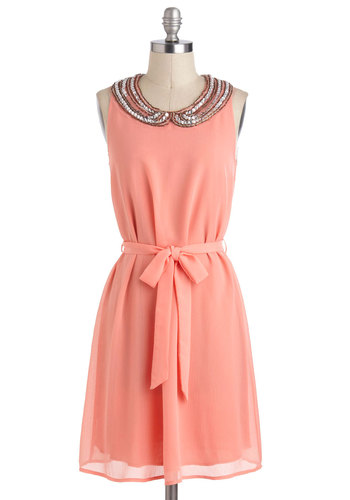 Sunrise at Sunset Dress - Pink, Peter Pan Collar, Rhinestones, Belted, Party, Pastel, Sleeveless, Collared, Mid-length, Tent / Trapeze, Tis the Season Sale