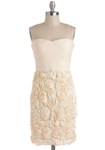 Vanilla Cream and Sugar Dress - Cream, Flower, Wedding, Strapless, Mid-length, Shift, Tis the Season Sale, Bride, Party