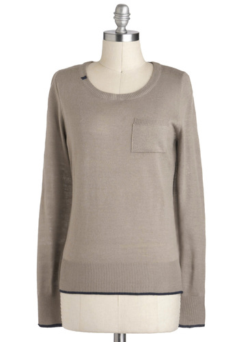 Ooh La Latte Sweater - Brown, Solid, Pockets, Long Sleeve, Casual, Mid-length, Travel