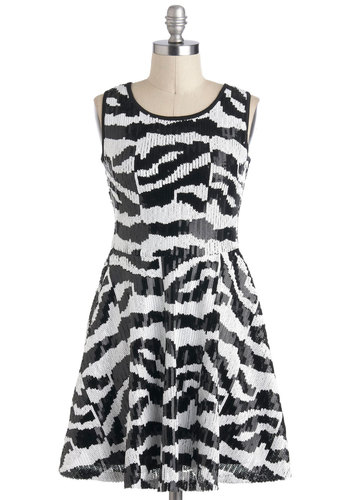 Steppe It Up Dress - White, Animal Print, Sequins, Party, A-line, Sleeveless, Short, Black, Exposed zipper, Girls Night Out