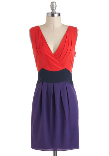 Tri As You Might Dress - Purple, Party, Sleeveless, Red, Pleats, Colorblocking, V Neck, Backless, Tis the Season Sale