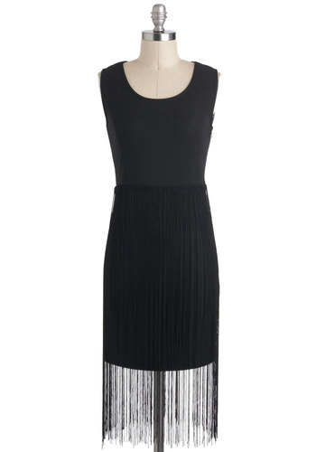You've Got a Fringe Dress - Black, Solid, Cutout, Fringed, Party, 20s, Sleeveless, Short, Shift