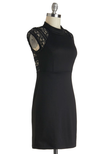 After the Ballet Dress - Sheer, Short, Black, Solid, Lace, Party, Film Noir, Shift, Cocktail