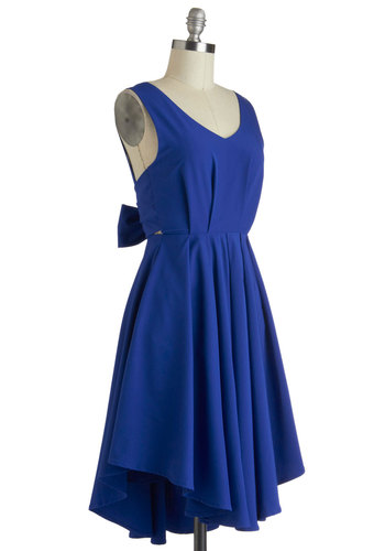Dance in the Moonlight Dress by Louche - Mid-length, Blue, Solid, Backless, Cocktail, A-line, Sleeveless, V Neck, Pleats, International Designer