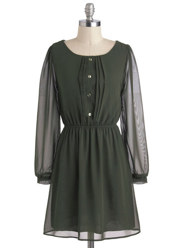 Olive Elegance Dress - Green, Solid, Buttons, Casual, A-line, Long Sleeve, Sheer, Short, Work, Fall