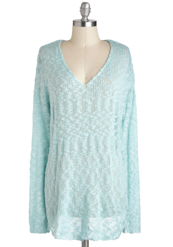 Cloudless is More Sweater - Mid-length, Blue, Solid, Casual, Long Sleeve, Sheer