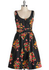 Flower the Leader Dress - Cotton, Mid-length, Black, Floral, A-line, Sleeveless, Multi, Daytime Party, Tis the Season Sale, Scoop