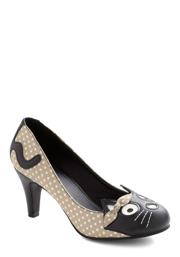 Meow's the Time Heel in Beige - Tan, Black, White, Solid, Polka Dots, Kawaii, Mid, Statement, Tis the Season Sale, Top Rated