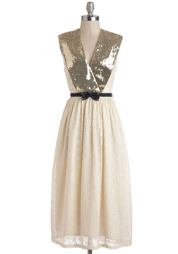 Lauren Moffatt On the Marquee Dress by Lauren Moffatt - Long, Cream, Gold, Sequins, Cocktail, Luxe, Sleeveless, V Neck, Cotton, Bows, Lace, Holiday Party, A-line