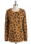 This is the Spot Sweater - Tan, Brown, Black, Animal Print, Casual, Long Sleeve, Mid-length, Crew