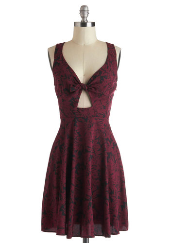 Merlot, It's Me Dress - Red, Black, Cutout, A-line, Sleeveless, Mid-length, Floral, Party, Urban