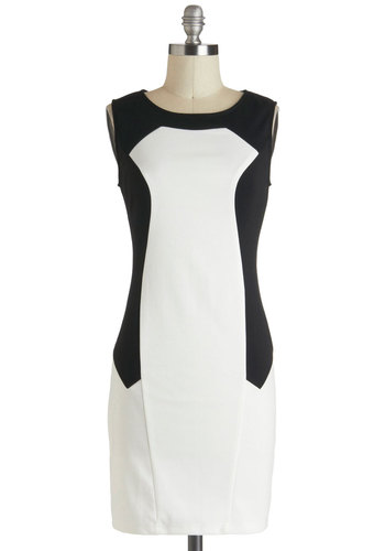 Minimalist Chic Dress - White, Party, Shift, Sleeveless, Mid-length, Black, Colorblocking, Mod, Minimal, Graduation