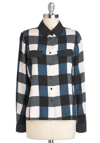Checker You Out Top - Blue, Black, White, Buttons, Casual, Long Sleeve, Mid-length, Checkered / Gingham