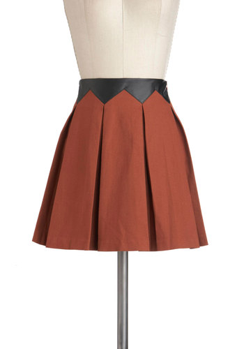 Russet a Date Skirt - Black, Pleats, A-line, Cotton, Faux Leather, Short, Orange