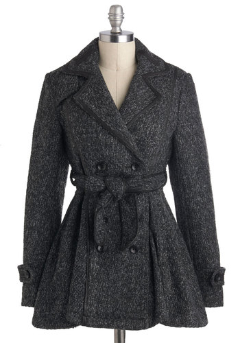 Posh Peppercorn Coat - Long, Grey, Solid, Buttons, Belted, Double Breasted, Long Sleeve, Winter, 3, Pockets