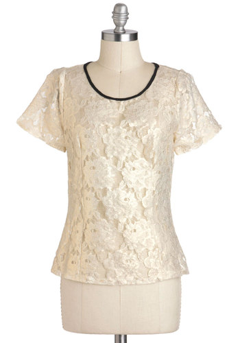 Endless Shimmer Top - White, Black, Solid, Lace, Daytime Party, Short Sleeves, Sheer, Mid-length