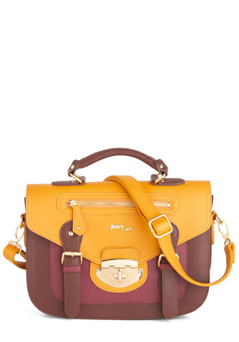 Taking Notice Satchel - Brown, Multi, Solid, Buckles, Colorblocking, Faux Leather, Work