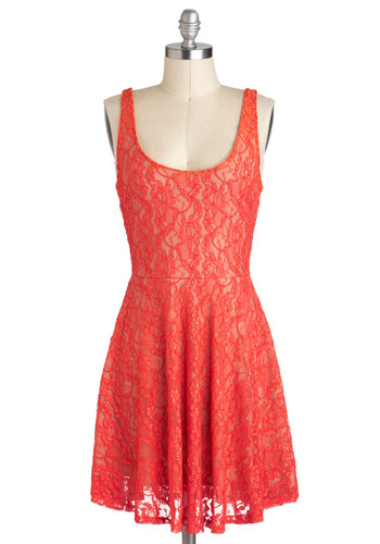 You Tropic the Place Dress - Mid-length, Coral, Lace, Casual, A-line, Sleeveless, Scoop
