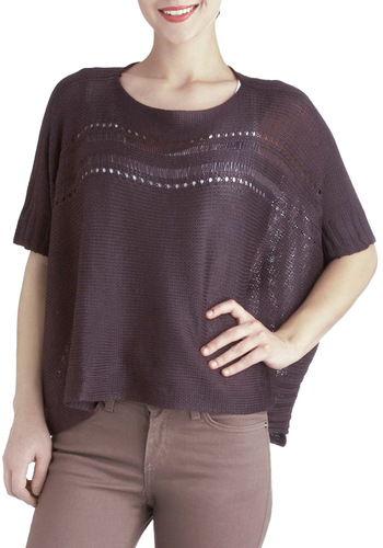 Eggplant of Action Top - Short, Purple, Solid, Casual, Short Sleeves, Knitted