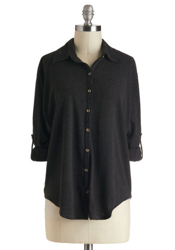 Let's Coal It A Day Top - Black, Solid, Buttons, Work, Casual, Long Sleeve, Mid-length, Travel, Knit