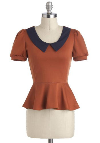 Give Me the Library Top - Orange, Black, Solid, Peter Pan Collar, Peplum, Short Sleeves, Mid-length