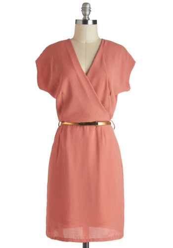 Sushi Ginger Dress - Mid-length, Solid, Exposed zipper, Belted, Pastel, Cap Sleeves, V Neck, Pink