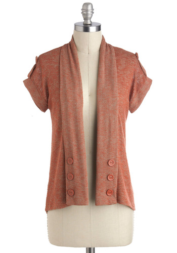 Cinnamon Amour Cardigan - Solid, Buttons, Casual, Short Sleeves, Short, Orange