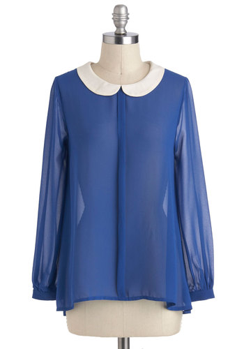 First Class Cabin Top - Sheer, Mid-length, Blue, White, Solid, Buttons, Peter Pan Collar, Work, Vintage Inspired, Long Sleeve