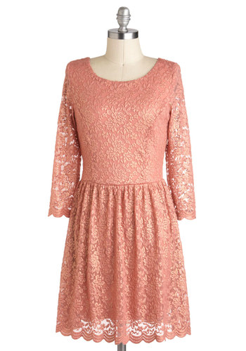 Dainty Mind if I Do Dress - Short, Pink, Solid, Exposed zipper, Lace, Daytime Party, 3/4 Sleeve, A-line, Fairytale, Scallops