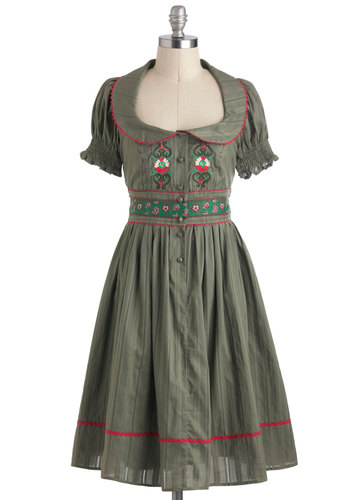 Wald Tour Dress by Blutsgeschwister - Buttons, Trim, Casual, A-line, Short Sleeves, Collared, Cotton, Long, Green, Embroidery, International Designer, Daytime Party, Vintage Inspired