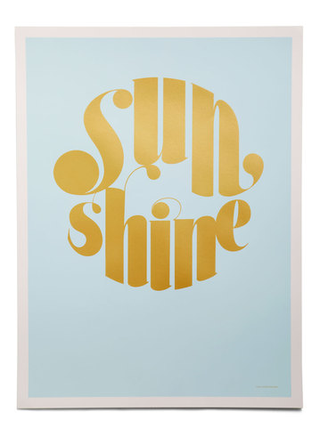Day in the Fun Print in Script - Blue, Gold, Dorm Decor, Statement