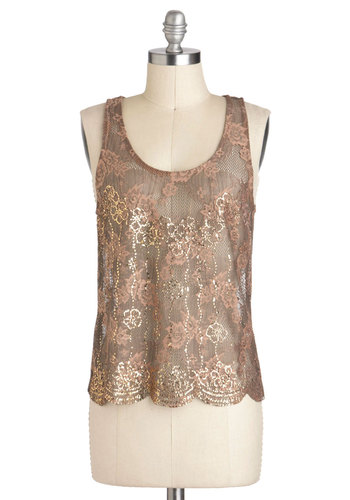Gold Petal Top - Mid-length, Sheer, Brown, Pink, Gold, Floral, Lace, Party, Cocktail, Sleeveless, Sequins, 20s