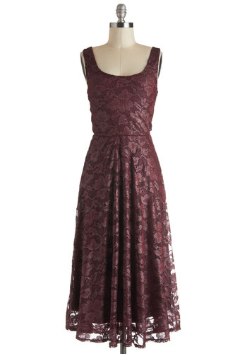 Wine Country Gal Dress - Red, Solid, Lace, A-line, Tank top (2 thick straps), Long, Cocktail, Vintage Inspired