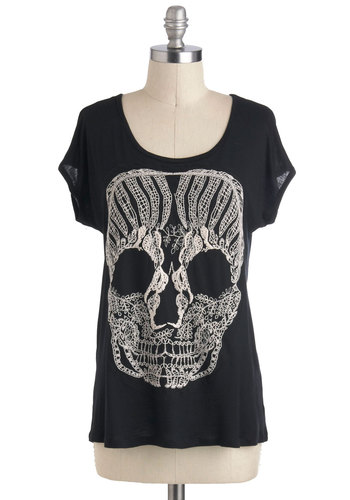 Calavera Chic Top - Black, Tan / Cream, Casual, Short Sleeves, Sheer, Urban, Scoop, Mid-length, Travel, Halloween, Black, Short Sleeve, Novelty Print, Top Rated, Skulls