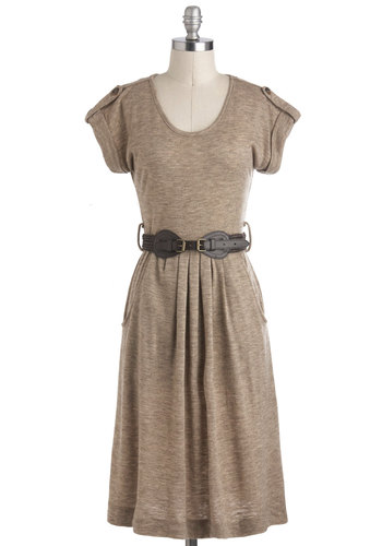 Weekend in the Woods Dress - Solid, Pockets, Casual, Short Sleeves, Long, Tan, Belted, Pleats, Rustic