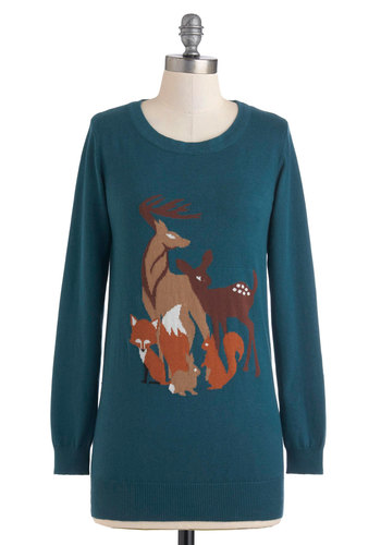 Friends of the Forest Sweater by Sugarhill Boutique - Blue, Brown, Cutout, Long Sleeve, Tan / Cream, Print with Animals, Casual, Fall, Long, International Designer, Novelty Print
