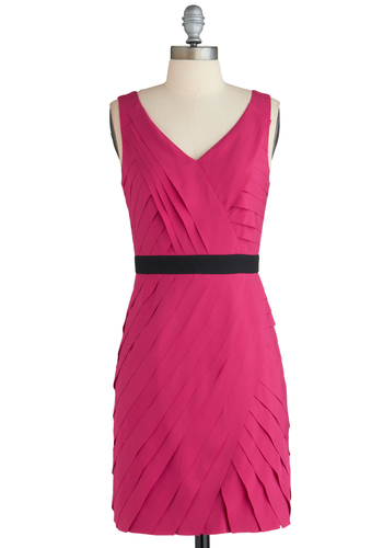 Committee Elections Dress - Mid-length, Pink, Black, Shift, Sleeveless, V Neck, Party, Tiered, Exclusives