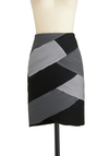 Interlock This Way Skirt - Mid-length, Grey, Ruching, Work, Pencil, Black, Colorblocking