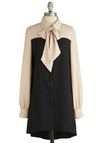 In With the Nuance Dress - Mid-length, Black, Tan / Cream, Buttons, Tie Neck, Work, Menswear Inspired, Shirt Dress, Long Sleeve, Collared