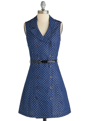Jean Come True Dress - Mid-length, Blue, White, Polka Dots, Buttons, Belted, A-line, Sleeveless, V Neck