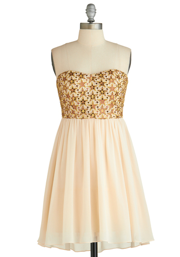 Co-Starring Debut Dress - Short, Cream, Gold, Embroidery, Sequins, Party, Strapless, Sweetheart, Empire, Exclusives, Prom
