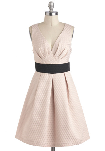 Petit Four Your Thoughts Dress by Eva Franco - Pink, Black, Luxe, A-line, Mid-length, Cocktail, Sleeveless, V Neck, Pleats, Daytime Party