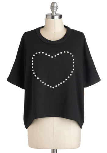 Original Heart-work Top - Black, Solid, Studs, Casual, Short Sleeves, Crew