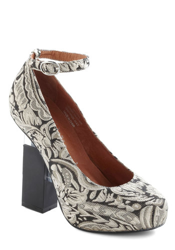 Contemporary Artist Heel by Jeffrey Campbell - Print, Embroidery, Statement, High, Platform, Leather, Black, White, Holiday Party