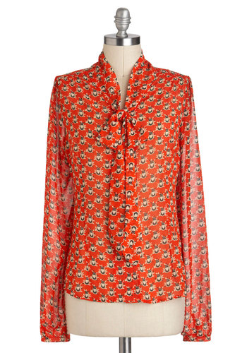 Owl That and More Top - Red, Orange, Print, Casual, Long Sleeve, Tie Neck, Work, Owls