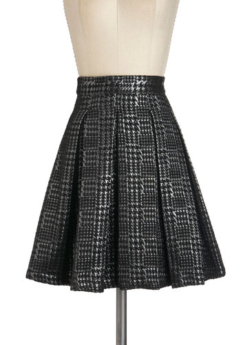 Pleats Be True Skirt - Black, Silver, Houndstooth, Pleats, A-line, Mid-length, Party, Work